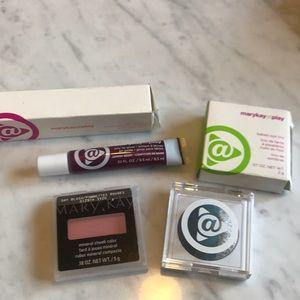 Mary Kay makeup bundle lip gloss, blush, eye trio